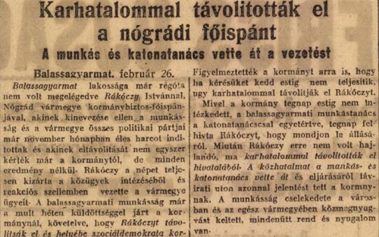 Nógrád vármegyében történt 100 éve – februárban
